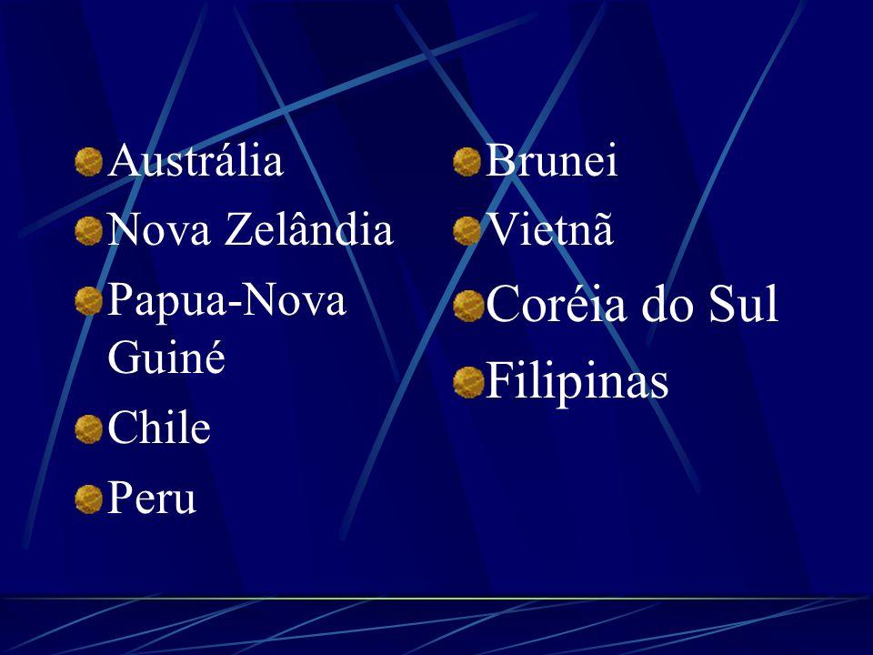 Austrália Nova Zelândia Papua-Nova Guiné Chile Peru Brunei Vietnã Coréia do Sul Filipinas
