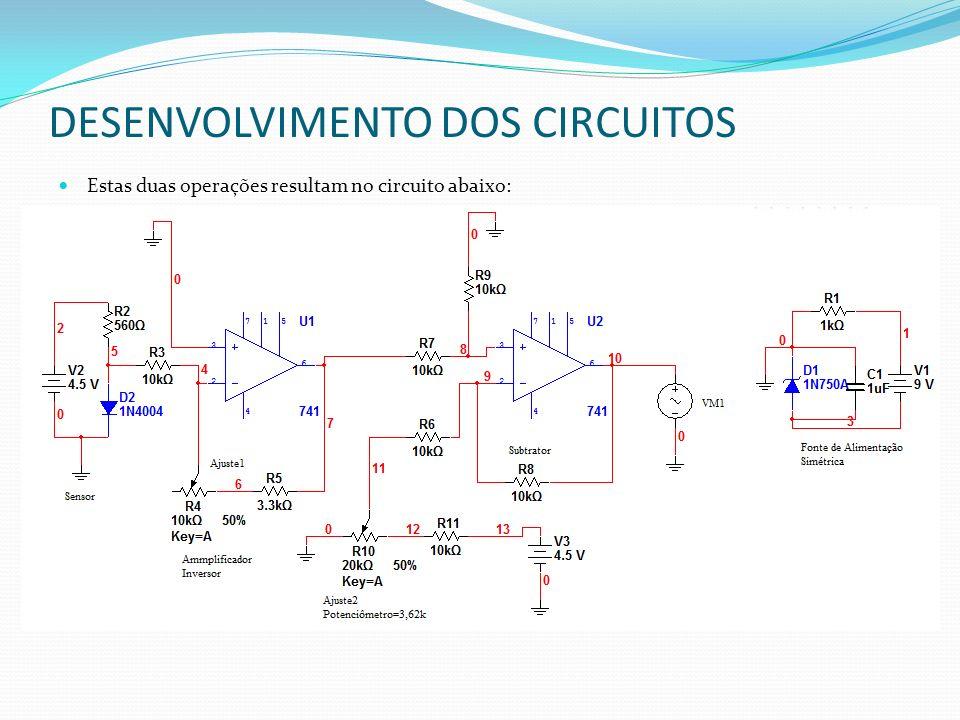 DESENVOLVIMENTO DOS CIRCUITOS Estas duas operações resultam no circuito abaixo: