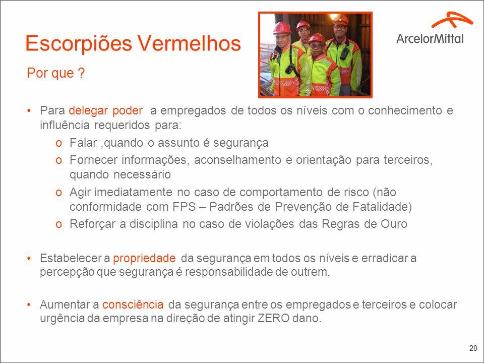 19 Escorpiões Vermelhos O que ? Os Escorpiões Vermelhos são: oEmpregados de tempo integral da ArcelorMittal oAgentes Temporários de Segurança que poss