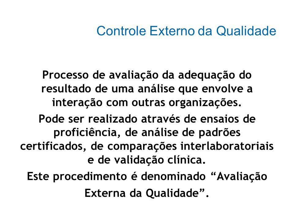 Controle Interno: A avaliação da precisão é feita através da análise de uma série de resultados obtidos na mesma amostra (para as análises quantitativ