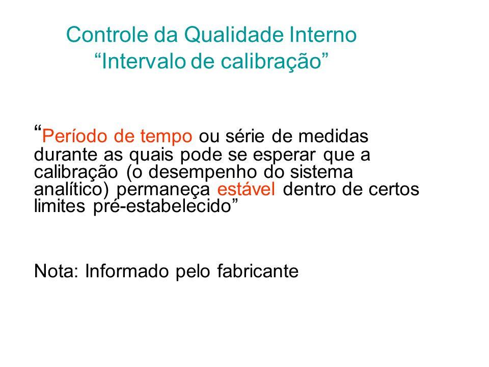 Controle da Qualidade Interno Calibrador Matriz: –Os padrões aquosos não são adequados para sistemas automáticos; –São produzidos calibradores multipa