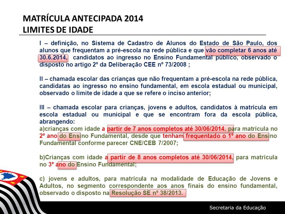 MATRÍCULA ANTECIPADA 2014 LIMITES DE IDADE I – definição, no Sistema de Cadastro de Alunos do Estado de São Paulo, dos alunos que frequentam a pré-esc