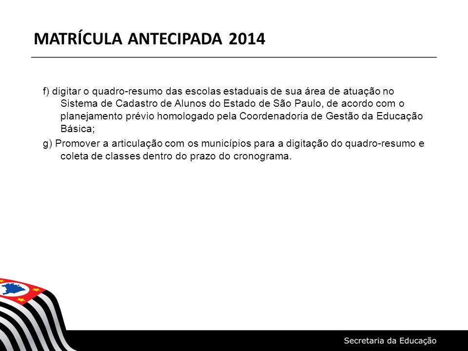 f) digitar o quadro-resumo das escolas estaduais de sua área de atuação no Sistema de Cadastro de Alunos do Estado de São Paulo, de acordo com o plane
