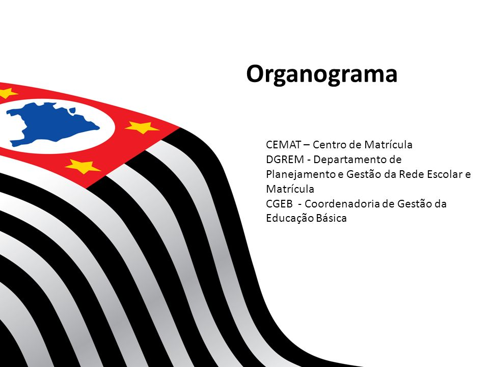 Organograma CEMAT – Centro de Matrícula DGREM - Departamento de Planejamento e Gestão da Rede Escolar e Matrícula CGEB - Coordenadoria de Gestão da Ed