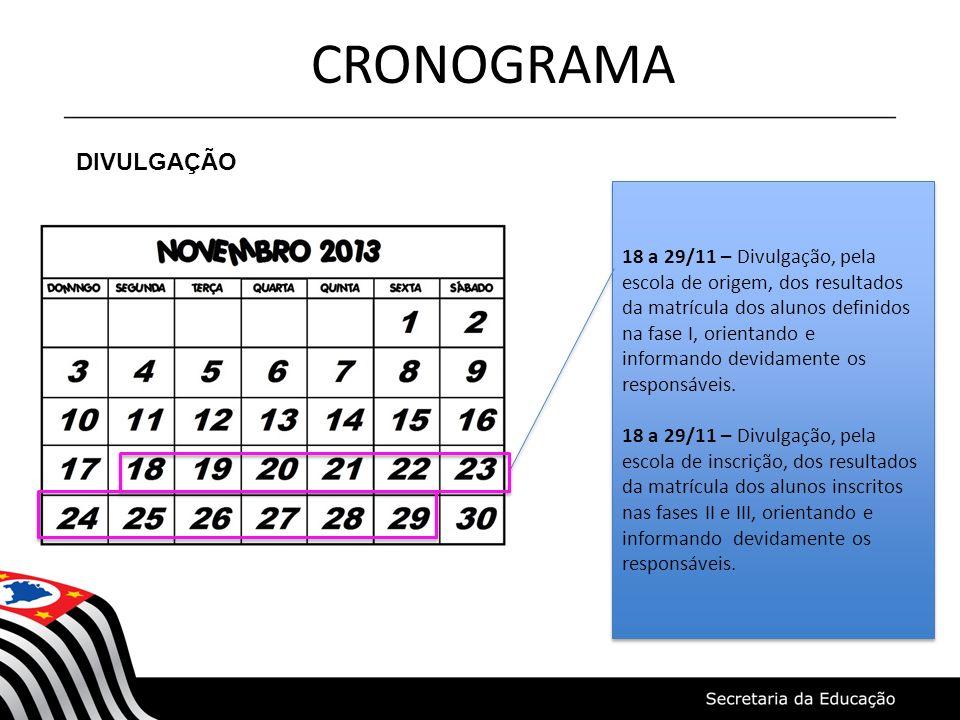 CRONOGRAMA DIVULGAÇÃO 18 a 29/11 – Divulgação, pela escola de origem, dos resultados da matrícula dos alunos definidos na fase I, orientando e informa