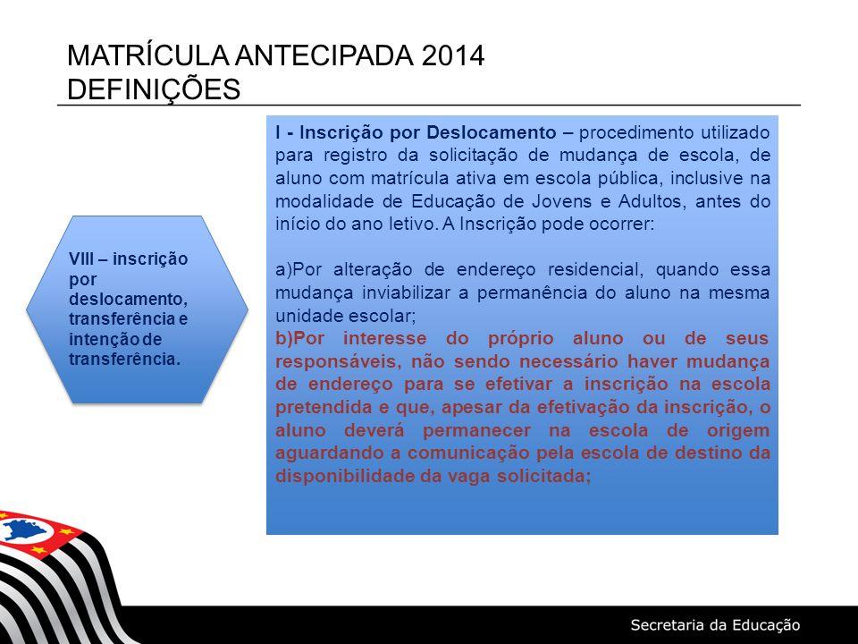 MATRÍCULA ANTECIPADA 2014 DEFINIÇÕES I - Inscrição por Deslocamento – procedimento utilizado para registro da solicitação de mudança de escola, de alu