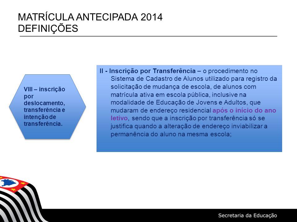 MATRÍCULA ANTECIPADA 2014 DEFINIÇÕES II - Inscrição por Transferência – o procedimento no Sistema de Cadastro de Alunos utilizado para registro da sol