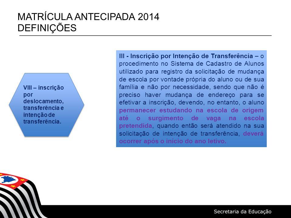 MATRÍCULA ANTECIPADA 2014 DEFINIÇÕES VIII – inscrição por deslocamento, transferência e intenção de transferência. III - Inscrição por Intenção de Tra