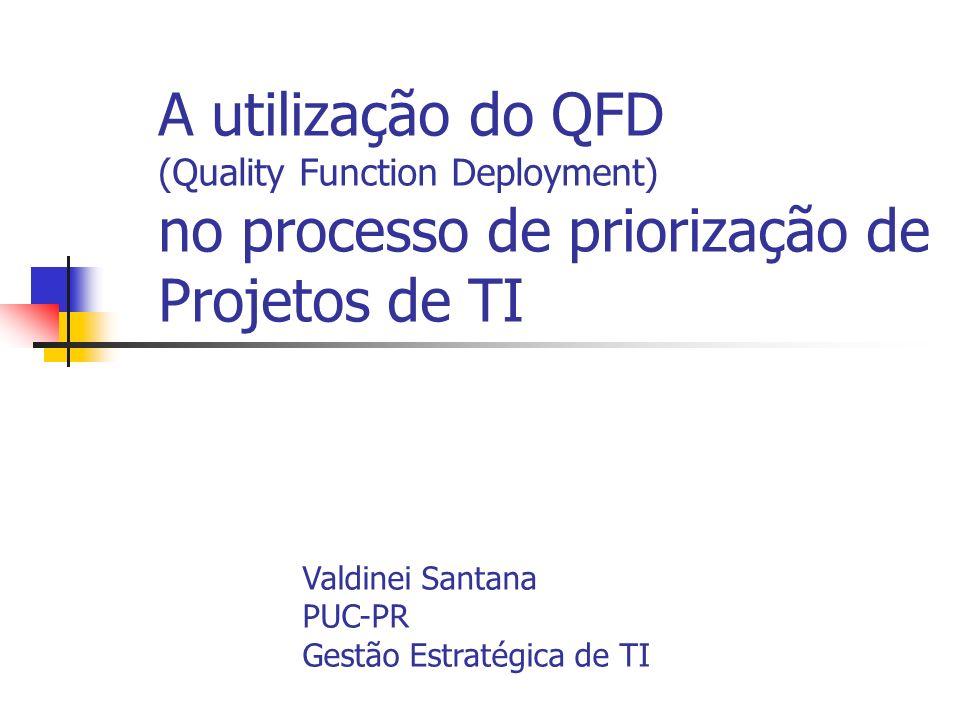 A utilização do QFD (Quality Function Deployment) no processo de priorização de Projetos de TI Valdinei Santana PUC-PR Gestão Estratégica de TI