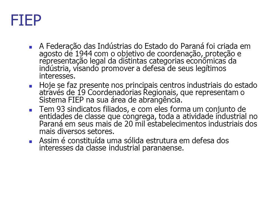 FIEP A Federação das Indústrias do Estado do Paraná foi criada em agosto de 1944 com o objetivo de coordenação, proteção e representação legal da dist