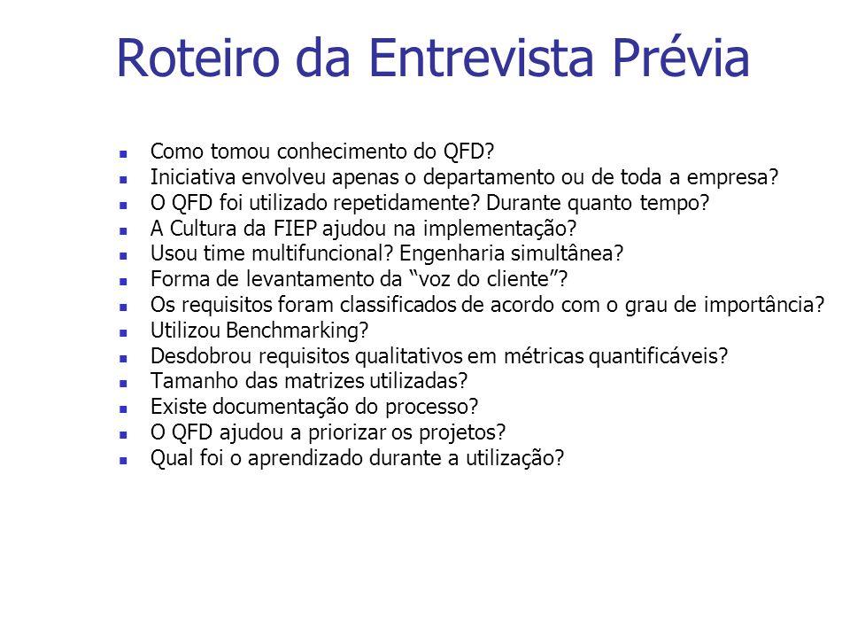 Roteiro da Entrevista Prévia Como tomou conhecimento do QFD? Iniciativa envolveu apenas o departamento ou de toda a empresa? O QFD foi utilizado repet