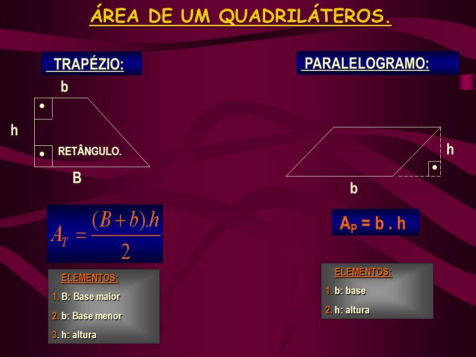 LOSÂNGO: LOSÂNGO: D d RETÂNGULO: RETÂNGULO: b h A R = b. h ÁREA DE UM QUADRILÁTEROS. ELEMENTOS: 1. D: DIAGONAL MAIOR 2. d: diagonal menor ELEMENTOS: 1