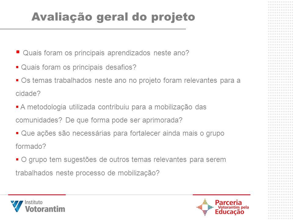 Avaliação geral do projeto Quais foram os principais aprendizados neste ano? Quais foram os principais desafios? Os temas trabalhados neste ano no pro