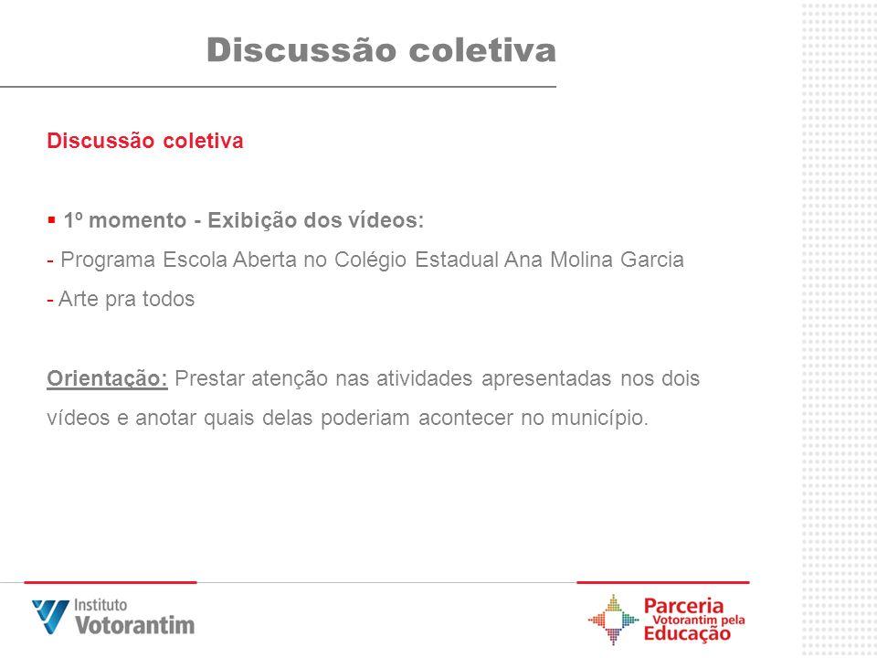 Discussão coletiva Discussão coletiva 1º momento - Exibição dos vídeos: - Programa Escola Aberta no Colégio Estadual Ana Molina Garcia - Arte pra todo