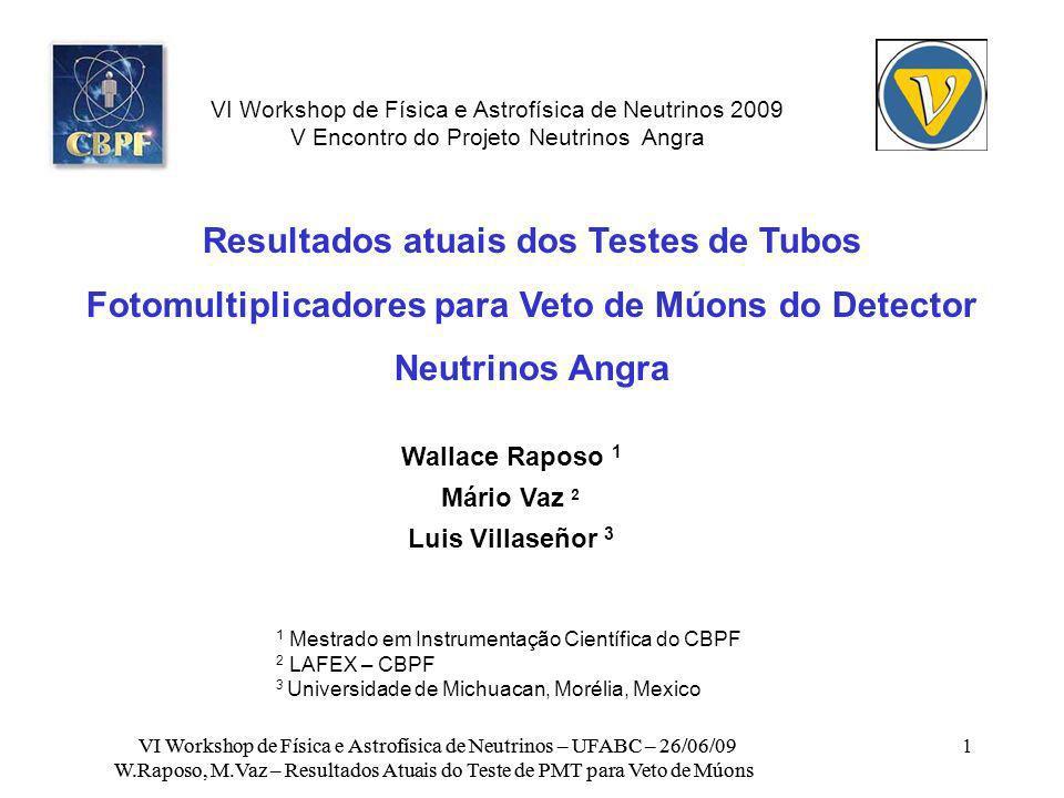 Aquisição de Dados com Software LabVIEW VI Workshop de Física e Astrofísica de Neutrinos – UFABC – 26/06/09 W.Raposo, M.Vaz – Resultados Atuais do Teste de PMT para Veto de Múons Controle dos instrumentos de medidas utilizados (sensor de temperatura, osciloscópio, multímetro de varredura) Interfaces utilizadas: USB, GPIB, Tektronix VISA, 1-wire (RS232 adapter) Gravação dos dados de uma varredura (2500 pontos por canal a 8 bits) a cada trigger do osciloscópio, mais o valor das escalas vertical e horizontal e a posição dos traços na tela do osciloscópio Aquisição de temperatura e tensão das fontes não é síncrona com a aquisição de eventos da MAPMT Programa para processamento de dados off-line (transforma 2500 caracteres ASCII em uma planilha para a análise com ROOT)