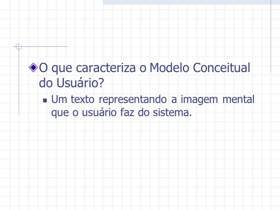 O que caracteriza o Modelo Conceitual do Usuário? Um texto representando a imagem mental que o usuário faz do sistema.