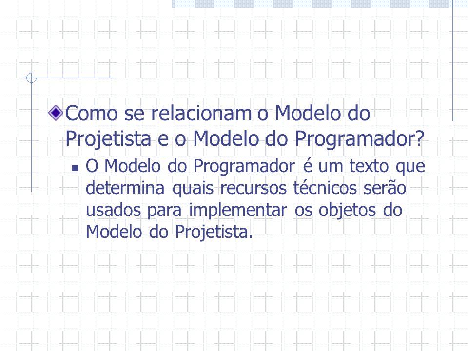 Como se relacionam o Modelo do Projetista e o Modelo do Programador? O Modelo do Programador é um texto que determina quais recursos técnicos serão us