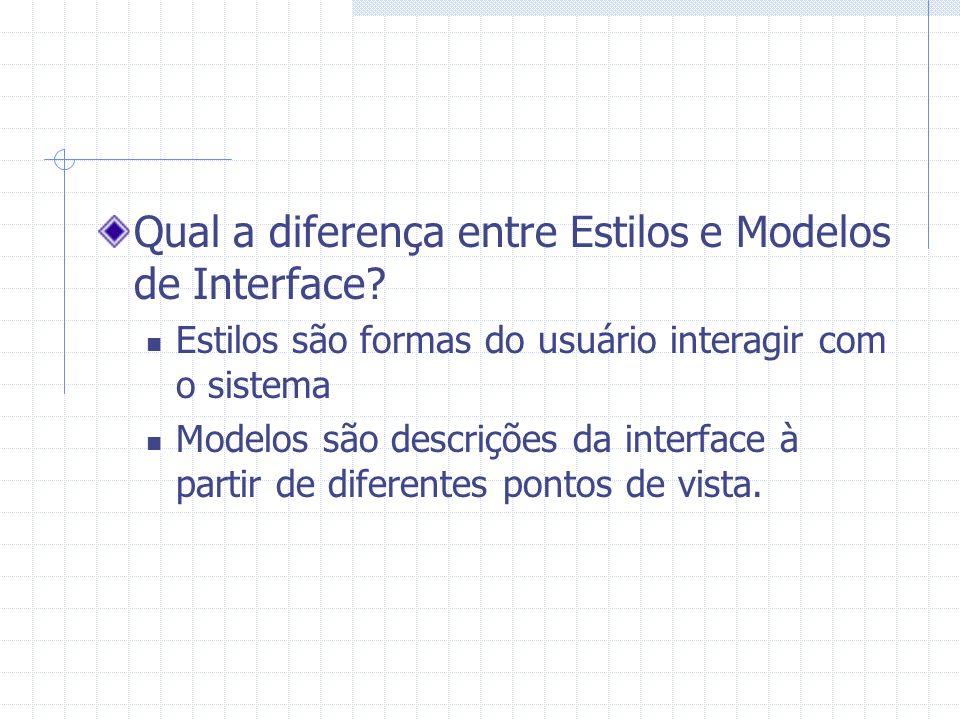Qual a diferença entre Estilos e Modelos de Interface? Estilos são formas do usuário interagir com o sistema Modelos são descrições da interface à par