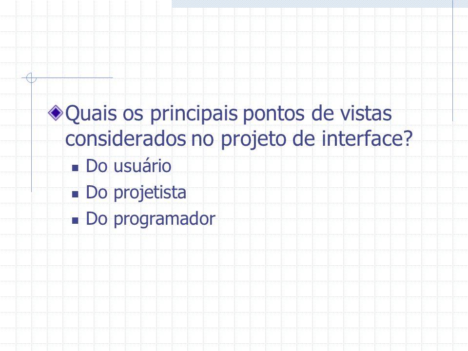 Quais os principais pontos de vistas considerados no projeto de interface? Do usuário Do projetista Do programador