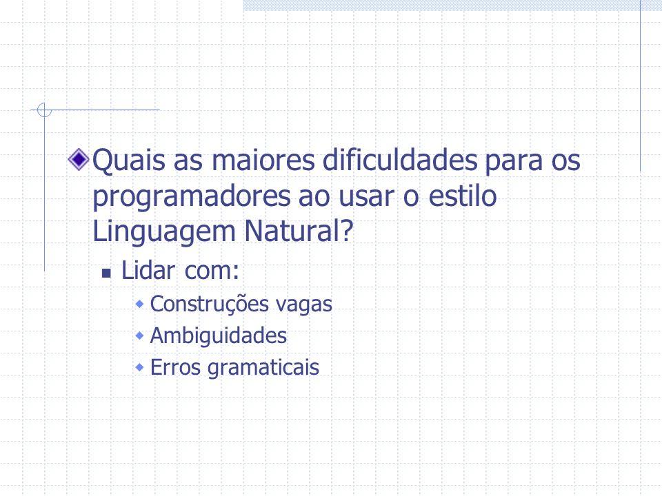 Quais as maiores dificuldades para os programadores ao usar o estilo Linguagem Natural? Lidar com: Construções vagas Ambiguidades Erros gramaticais