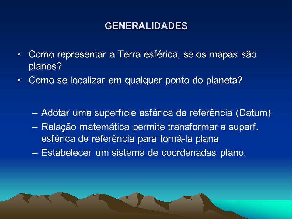 GENERALIDADES Como representar a Terra esférica, se os mapas são planos.