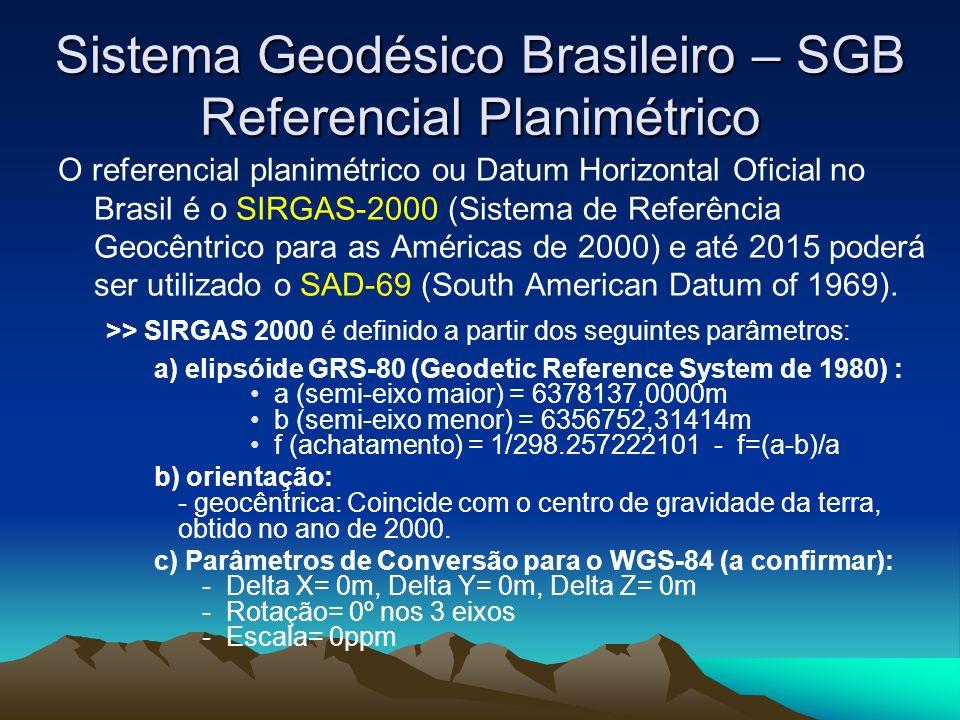 Sistema Geodésico Brasileiro – SGB Referencial Planimétrico O referencial planimétrico ou Datum Horizontal Oficial no Brasil é o SIRGAS-2000 (Sistema de Referência Geocêntrico para as Américas de 2000) e até 2015 poderá ser utilizado o SAD-69 (South American Datum of 1969).