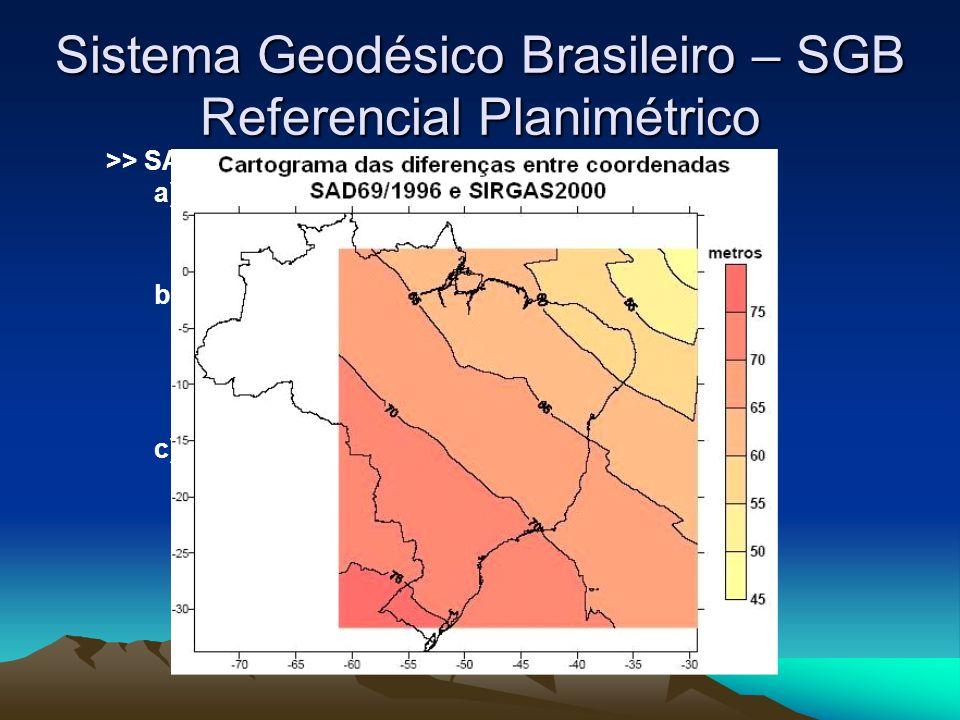 Sistema Geodésico Brasileiro – SGB Referencial Planimétrico >> SAD69 é definido a partir dos seguintes parâmetros: a) elipsóide UGGI-67 : a (semi-eixo maior) = 6378160,0000m b (semi-eixo menor) = 6356774,71920m f (achatamento) = 1/298.25 - f=(a-b)/a; b) orientação: - Topocêntrico : vértice Chuá em Uberaba/MG; Latitude: 19°4541,6527S Longitude: 48°0604,0639W H=763,2819m N: 0m; c) Parâmetros de Conversão para o WGS-84: -Delta X= -66,87m -Delta Y= +4,37m -Delta Z= -38,52m -Rotação= 0º nos 3 eixos -Escala= 0ppm.