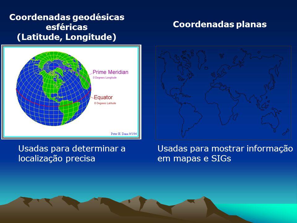 Coordenadas geodésicas esféricas (Latitude, Longitude) Usadas para mostrar informação em mapas e SIGs Usadas para determinar a localização precisa Coordenadas planas