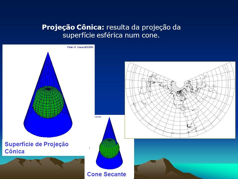 Projeção Cônica: resulta da projeção da superfície esférica num cone.