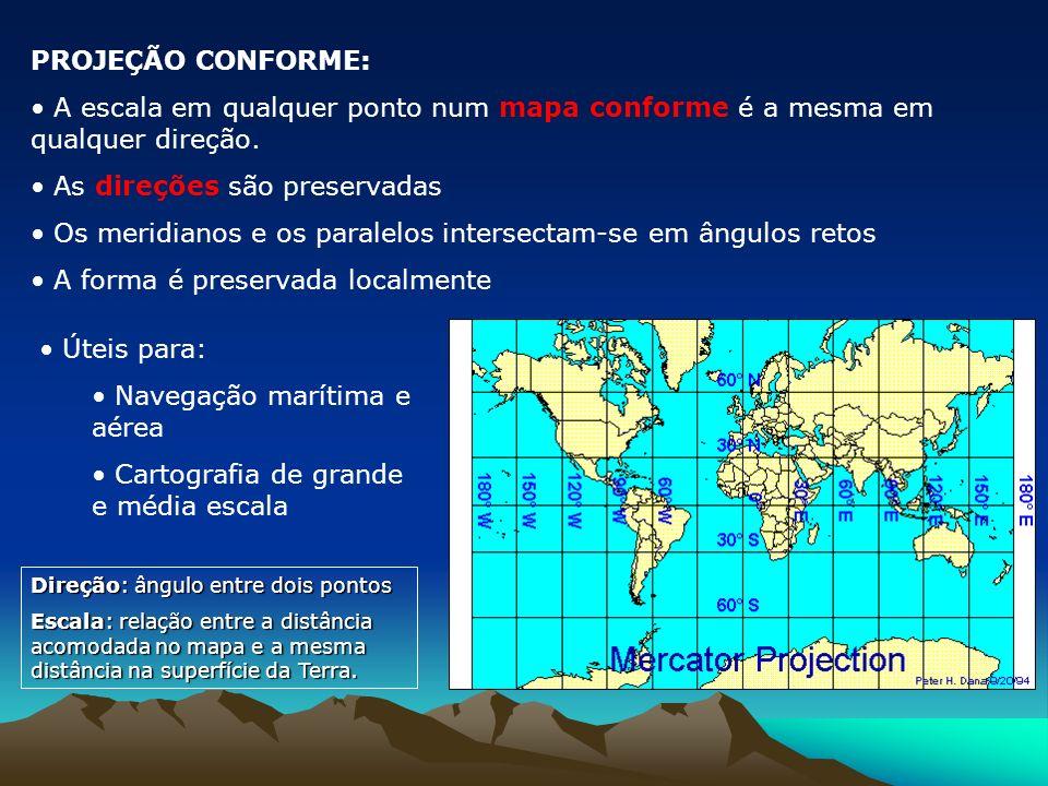 Projeção Azimutal: resulta da projeção da superfície esférica num plano. Superfície de Projeção Plana Plano Secante Projeção Azimutal