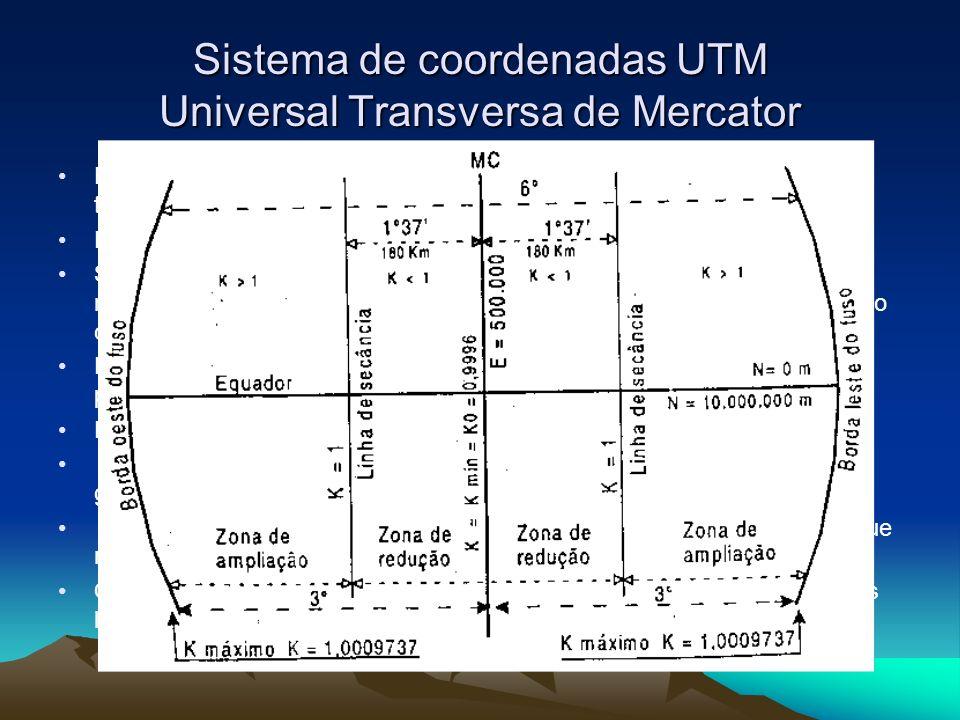 Sistema de coordenadas UTM Universal Transversa de Mercator Projeção que deforma somente as distâncias medidas sobre o plano topográfico É o sistema mais utilizado para a confecção de mapas Sua amplitude é de 6º, formando um conjunto de 60 fusos UTM no recobrimento terrestre total.