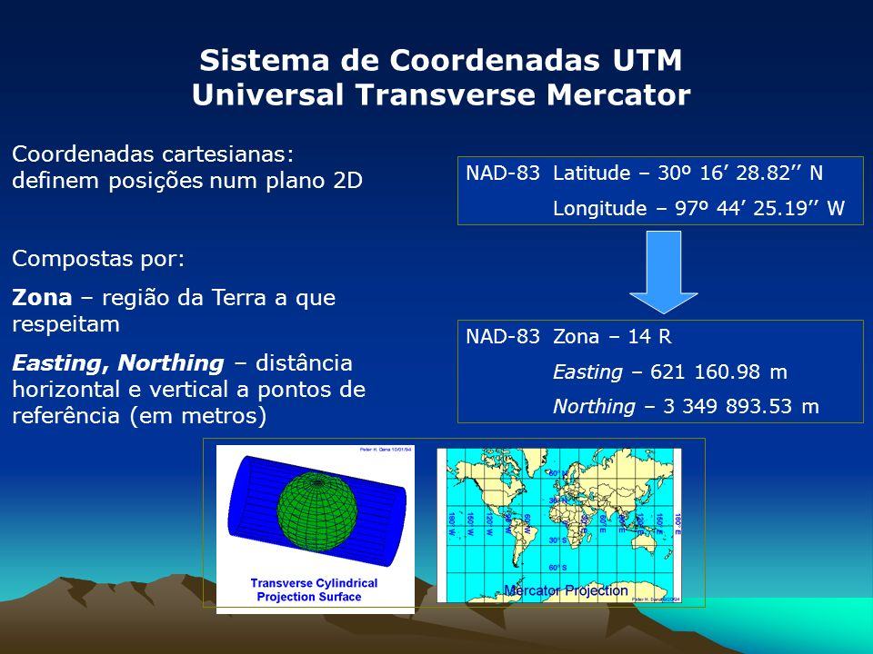 Coordenadas cartesianas: definem posições num plano 2D Compostas por: Zona – região da Terra a que respeitam Easting, Northing – distância horizontal e vertical a pontos de referência (em metros) Sistema de Coordenadas UTM Universal Transverse Mercator NAD-83Latitude – 30º 16 28.82 N Longitude – 97º 44 25.19 W NAD-83Zona – 14 R Easting – 621 160.98 m Northing – 3 349 893.53 m