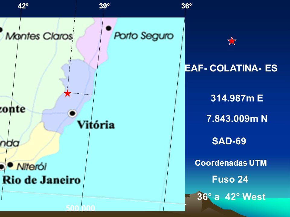 Eastings: medidos desde o meridiano central (500 km falso leste para assegurar coord. positivas) Northings: medidos a partir do equador (10 000 km nor
