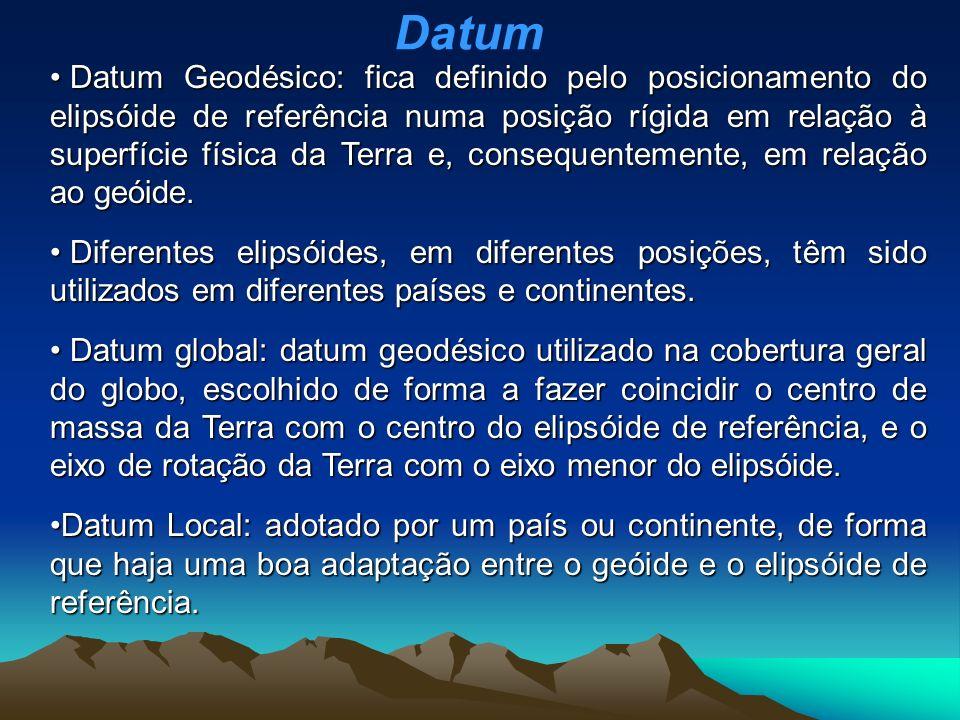 Datum Geodésico: fica definido pelo posicionamento do elipsóide de referência numa posição rígida em relação à superfície física da Terra e, consequentemente, em relação ao geóide.