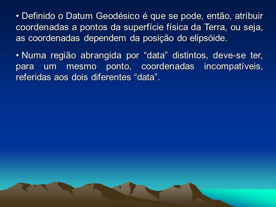 Datum Geodésico: fica definido pelo posicionamento do elipsóide de referência numa posição rígida em relação à superfície física da Terra e, consequen