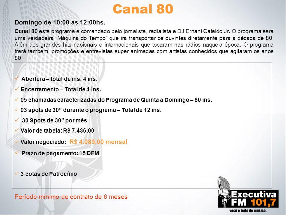 Canal 80 Canal 80 este programa é comandado pelo jornalista, radialista e DJ Ernani Cataldo Jr. O programa será uma verdadeira Máquina do Tempo que ir