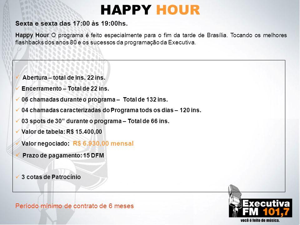 HAPPY HOUR Happy Hour O programa é feito especialmente para o fim da tarde de Brasília. Tocando os melhores flashbacks dos anos 80 e os sucessos da pr