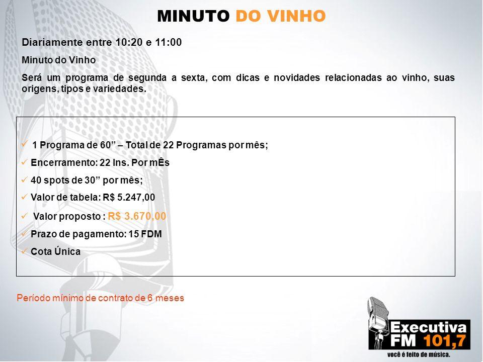 MINUTO DO VINHO Minuto do Vinho Será um programa de segunda a sexta, com dicas e novidades relacionadas ao vinho, suas origens, tipos e variedades. 1