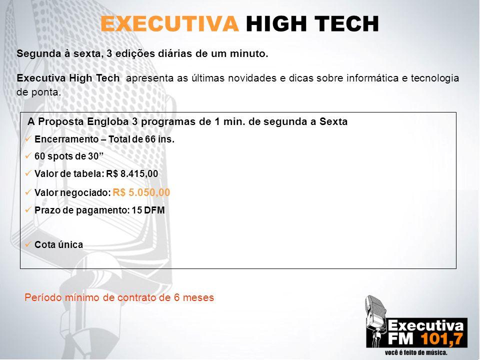 EXECUTIVA HIGH TECH Segunda à sexta, 3 edições diárias de um minuto. Executiva High Tech apresenta as últimas novidades e dicas sobre informática e te
