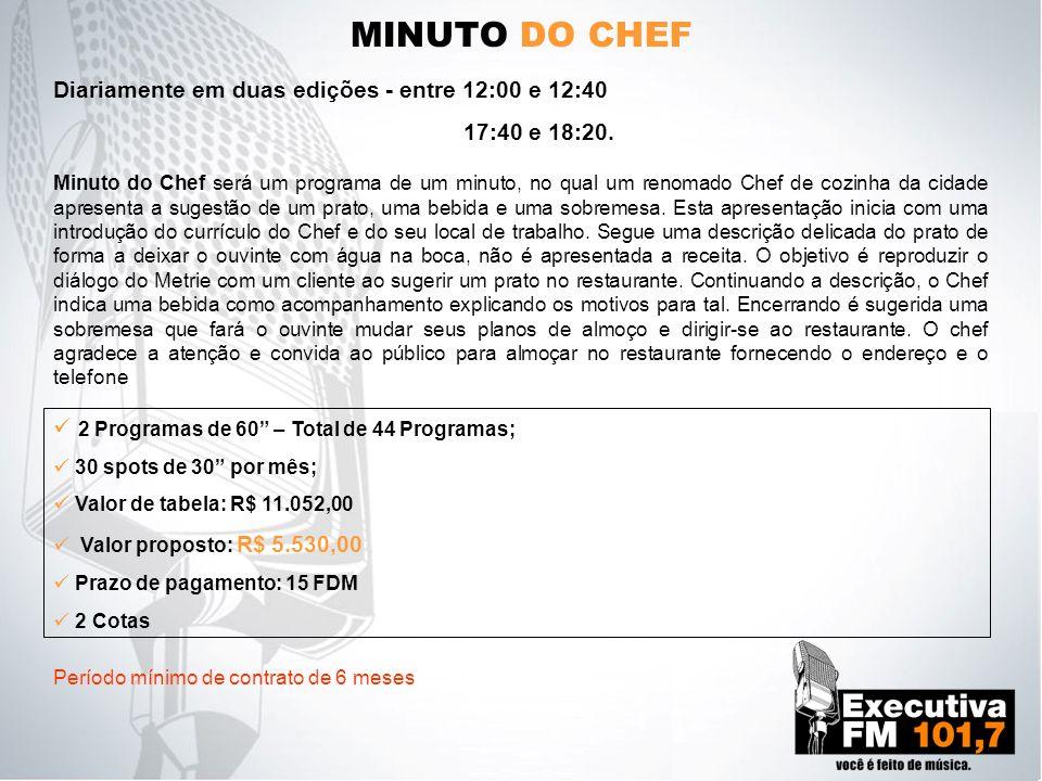 MINUTO DO CHEF Minuto do Chef será um programa de um minuto, no qual um renomado Chef de cozinha da cidade apresenta a sugestão de um prato, uma bebid