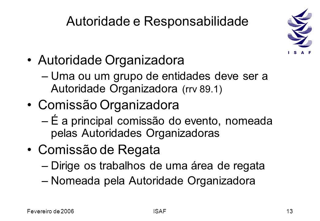 Fevereiro de 2006ISAF13 Autoridade e Responsabilidade Autoridade Organizadora –Uma ou um grupo de entidades deve ser a Autoridade Organizadora (rrv 89