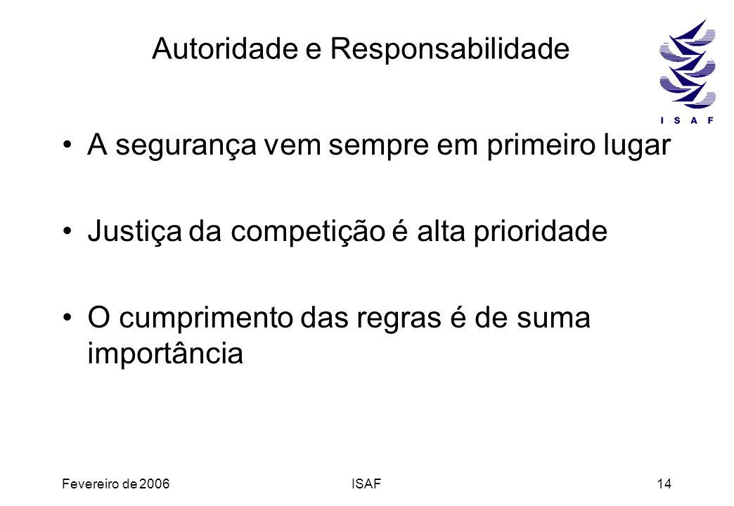 Fevereiro de 2006ISAF14 Autoridade e Responsabilidade A segurança vem sempre em primeiro lugar Justiça da competição é alta prioridade O cumprimento d