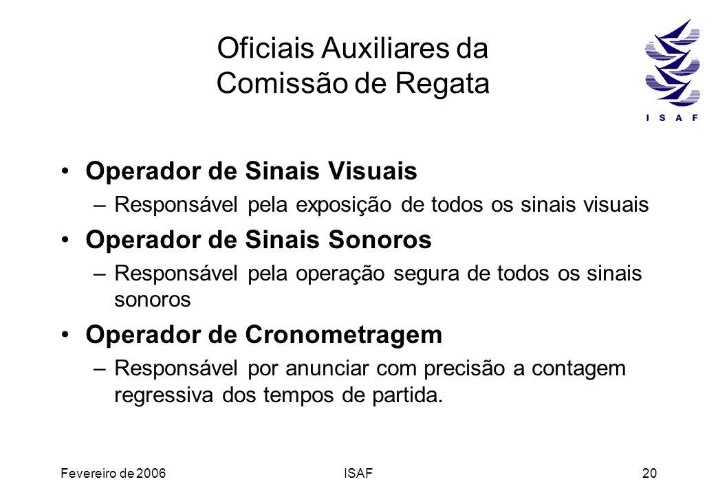 Fevereiro de 2006ISAF20 Oficiais Auxiliares da Comissão de Regata Operador de Sinais Visuais –Responsável pela exposição de todos os sinais visuais Op