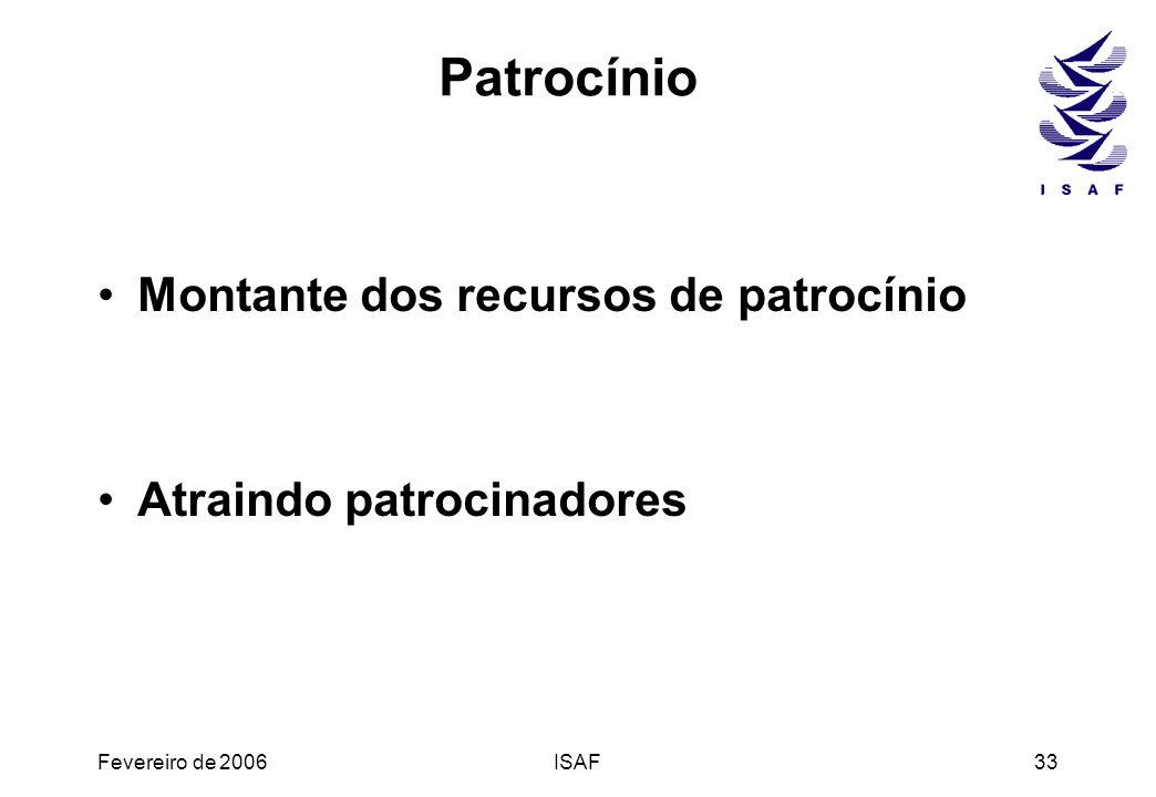 Fevereiro de 2006ISAF33 Patrocínio Montante dos recursos de patrocínio Atraindo patrocinadores
