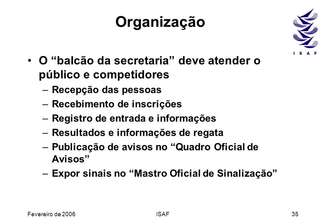 Fevereiro de 2006ISAF35 Organização O balcão da secretaria deve atender o público e competidores –Recepção das pessoas –Recebimento de inscrições –Reg