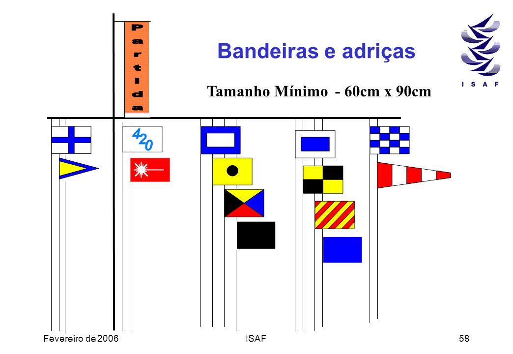 Fevereiro de 2006ISAF58 Bandeiras e adriças Tamanho Mínimo - 60cm x 90cm