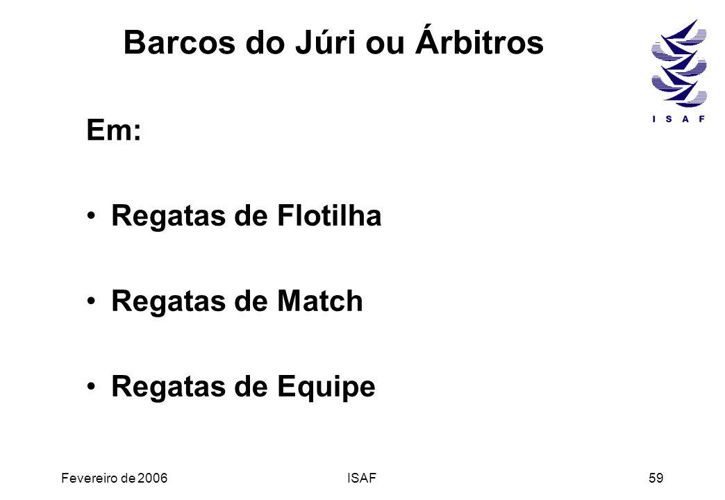 Fevereiro de 2006ISAF59 Barcos do Júri ou Árbitros Em: Regatas de Flotilha Regatas de Match Regatas de Equipe