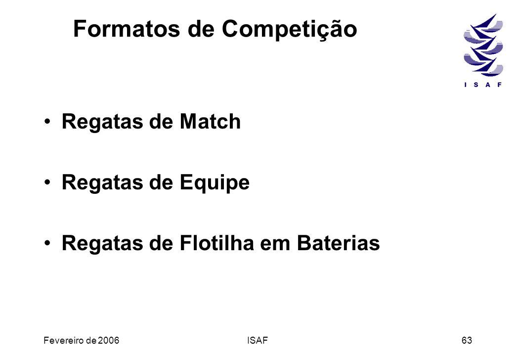 Fevereiro de 2006ISAF63 Formatos de Competição Regatas de Match Regatas de Equipe Regatas de Flotilha em Baterias