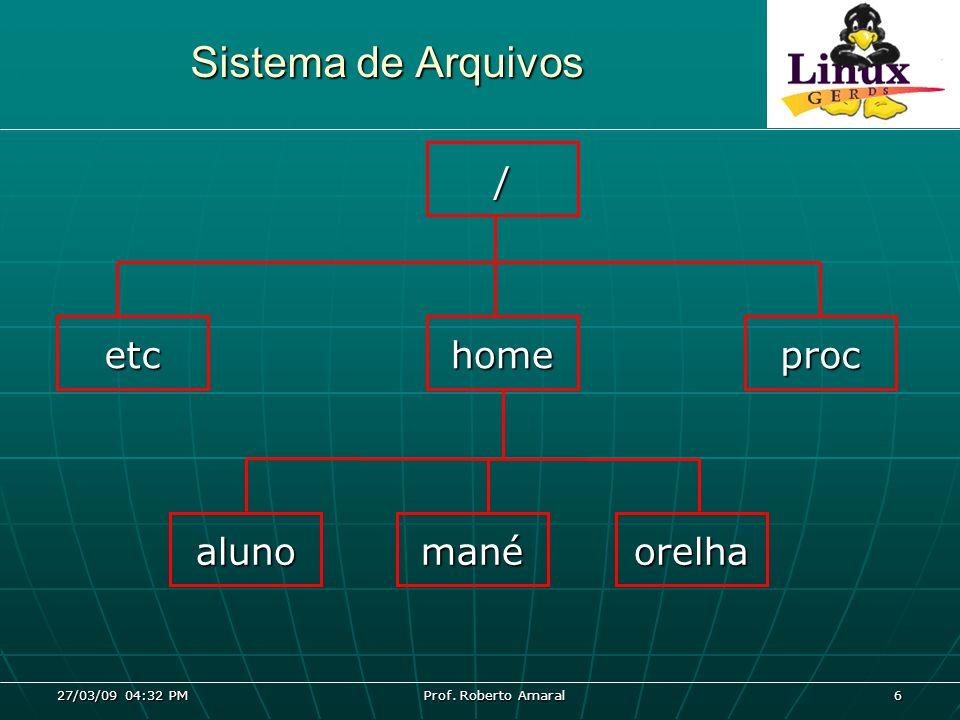 27/03/09 04:32 PM Prof. Roberto Amaral 6 Sistema de Arquivos / etchomeproc alunomanéorelha