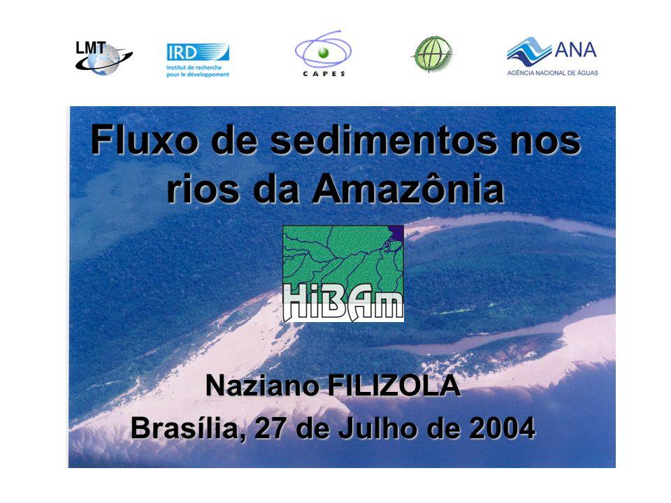 Dados utilizados 3 fontes distintas de dados:3 fontes distintas de dados: - As redes hidrológicas nacionais (> 9000 amostras, 4 x aa desde os anos 70) - A rede de estações de referência do HIBAM ( - A rede de estações de referência do HIBAM ( 1000 amostras desde 1995) - Campanhas de campo HIBAM ( - Campanhas de campo HIBAM (8 campanhas com 700 amostras em 84 seções de 1995 a 1998) Rio Negro em Cucui